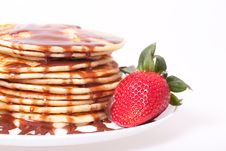 Free Pancakes With Chocolate  Souce Royalty Free Stock Images - 19156749