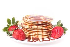 Pancakes With Chocolate  Souce Royalty Free Stock Photo