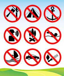 Free Travel And Leisure Prohibition Signs. Royalty Free Stock Photos - 19157098
