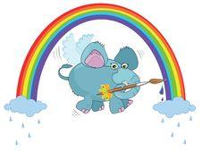 Free An Elephant Paints  A Rainbow Stock Photography - 19157192