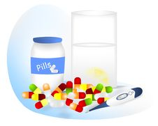 Free Pills For Fever, Cdr Vector Royalty Free Stock Photography - 19157507