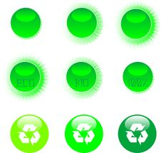 Free Eco Icon Set Green Royalty Free Stock Photography - 19157627