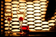 Free Glasses With Champagne And Cherry Royalty Free Stock Photos - 19158248
