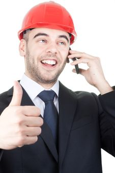 Free Young Handsome Engineer Doing Good Sign Stock Images - 19158274