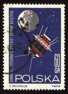 Free Postage Stamp From Poland With Spaceship Luna-3 Stock Photos - 19158693