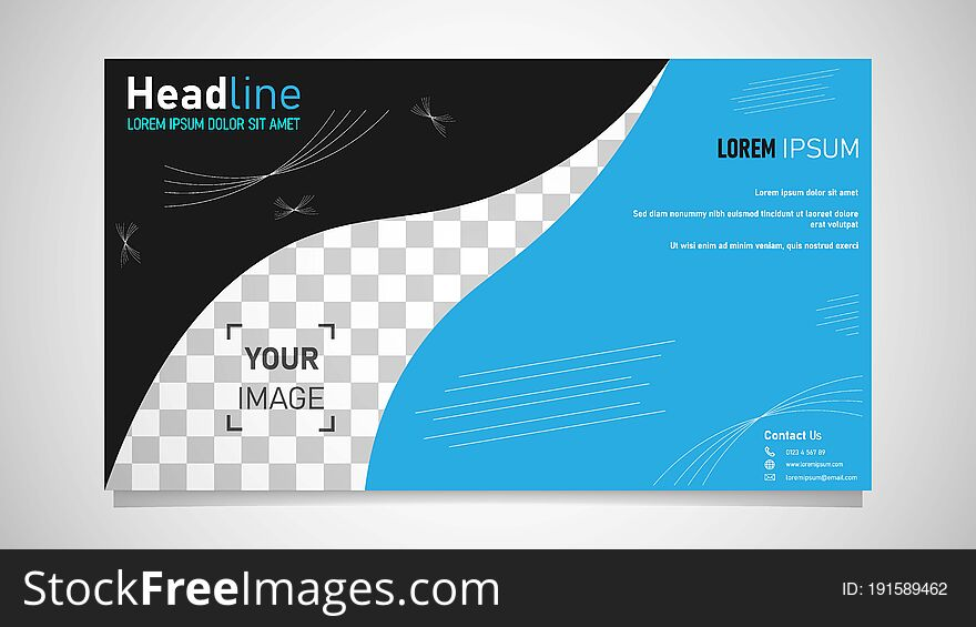 Postcard, brochure cover, flyer design with simple concept