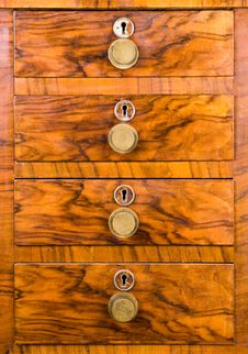 Wooden Cabinet With Closed Drawer Royalty Free Stock Photography