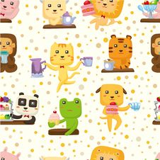 Free Seamless Animal Tea Time Pattern Royalty Free Stock Photos - 19161028