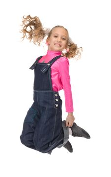 Free Jumping Happy Young Girl Royalty Free Stock Image - 19161776