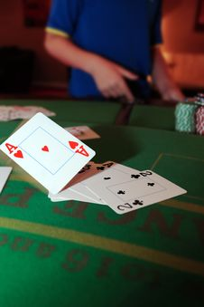 Free Poker Player Throwing In Loosing Cards Stock Photo - 19162170