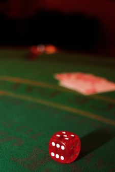 Red Dice On Casino Table Stock Images