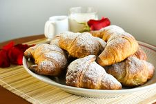 Free Croissants With Red Rose Composition Royalty Free Stock Image - 19162856