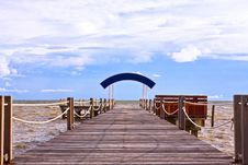Wooden Jetty Into The Sea Stock Photo