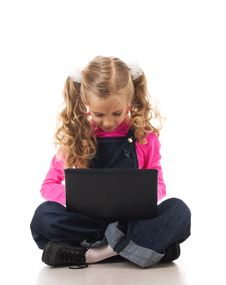 Free Young Girl With Black Laptop Royalty Free Stock Photography - 19164127