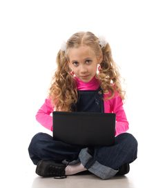 Free Young Girl With Black Laptop Royalty Free Stock Photography - 19164197