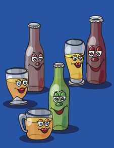 Free Beer Bottles And Glasses Stock Photography - 19164312