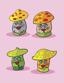 Free Mushrooms Cartoon Royalty Free Stock Photo - 19164365