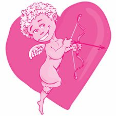 Free Cartoon Cupid With Bow And Wings Royalty Free Stock Photos - 19164408