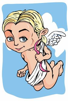 Free Cartoon Cupid With Bow And Wings Stock Image - 19164421