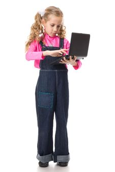 Free Young Girl With Black Laptop Stock Photo - 19164460