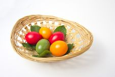 Free Colored Eggs In Basket Royalty Free Stock Images - 19164909