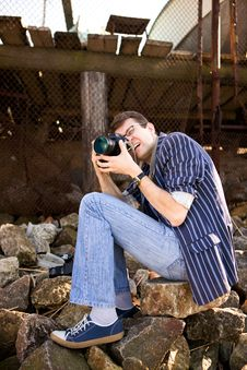Free Photographer Work With Camera Royalty Free Stock Photography - 19164947