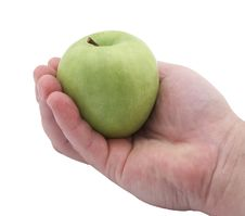 Free Green Apple In Hand Royalty Free Stock Images - 19165619