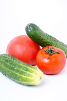 Free Two Cucumbers And Two Tomatos Royalty Free Stock Photo - 19166295