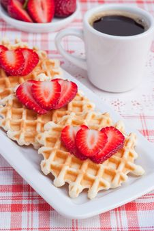 Free Waffles With Strawberry And Coffee. Stock Photos - 19166313