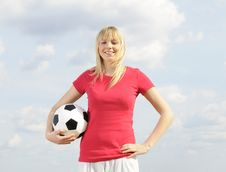 Free Young Woman With Soccer Ball Royalty Free Stock Photo - 19166635