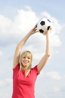 Free Young Woman With Soccer Ball Stock Photo - 19166710