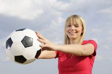 Free Young Woman With Soccer Ball Stock Images - 19166904