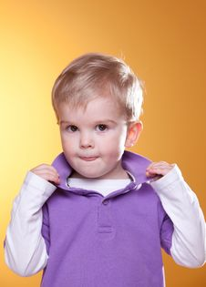 Cute Blonde Boy Posing Royalty Free Stock Photos