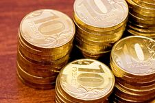 Free Golden Coins On A Wooden Table Close Up Stock Photography - 19167592
