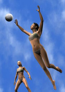 Free Women Playing Volley Ball Royalty Free Stock Photos - 19167658