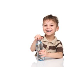 Free Boy With A Bottle Of Water Royalty Free Stock Image - 19168236