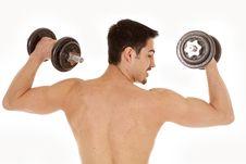 Man Workout Shirtless Turn Head Royalty Free Stock Images