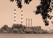 Factory By River Stock Image