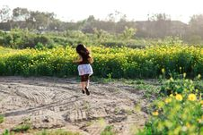 Girl In The Flower Field Stock Images