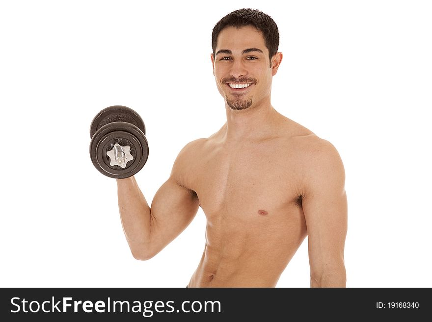 Man curl weights smile