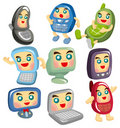 Free Cartoon Computer And Phone Face Icon Stock Images - 19171094