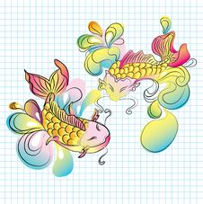 Free Koi Fish - Hand Drawn Illustration Royalty Free Stock Images - 19170839