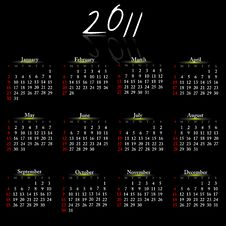 Free Calendar Of 2011. Stock Photos - 19170873