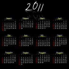 Calendar Of 2011. Stock Photos
