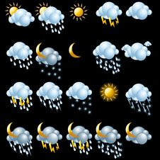 Free Weather Icons Set. Royalty Free Stock Photography - 19170967