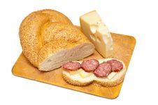 Free Sausage Cheese And Bread Royalty Free Stock Photos - 19171168