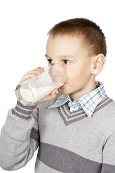 Free Boy Drinks Milk. Royalty Free Stock Image - 19171596