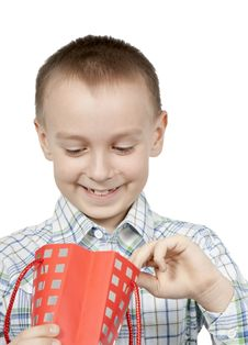Free Happy Boy Looks Into A Gift Bag. Royalty Free Stock Images - 19171609