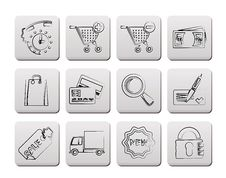 Free Internet Icons For Online Shop Royalty Free Stock Photo - 19171765