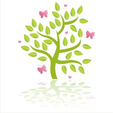 Free Tree With Pink Butterflies Stock Photos - 19171923